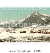 Historical Photochrom of the Village of Davos in Winter, Switzerland by Al