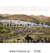 Historical Photochrom of the Village of Keswick near the Lake of Derwentwater and Mountains Lake District Allerdale Cumbria England UK by Al