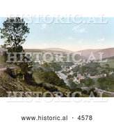 Historical Photochrom of the Village of Laxey on the River, Isle of Man, England by Al
