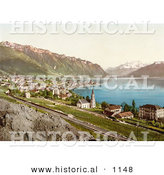 Historical Photochrom of the Village of Montreux on the Shore of Geneva Lake in Switzerland by Al