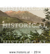 Historical Photochrom of the Village of Sarnen on Lake Sarner by Al