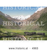 Historical Photochrom of the Village of Sulden in the Vinschgau Valley, Tyrol, Austria by Al