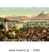 Historical Photochrom of the Village of Thun and Lake Thun in Switzerland by Al