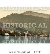 Historical Photochrom of the Village of Weggis on Lake Lucerne by Al