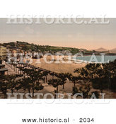 Historical Photochrom of the Waterfront Village of Donostia-San Sebastian, Spain by Al