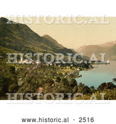 Historical Photochrom of the Waterfront Village of Sachseln, Switzerland by Al
