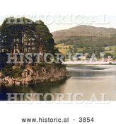 Historical Photochrom of the Waterhead Hotel on the Shore of Lake Windermere with Brathay Rock in the Foreground Lake District Cumbria England UK by Al