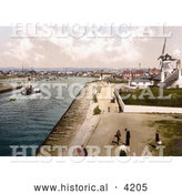 Historical Photochrom of the Windmill at the Harbour in Littlehampton Arun West Sussex England UK by Al