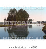 Historical Photochrom of Thorpe, New Reach, Norwich, East Anglia, Norfolk, England by Al