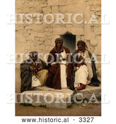 Historical Photochrom of Three Bedouins in Jordan by Al