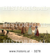 Historical Photochrom of Three Women by a Cliff with a Goat, Heligoland, Germany by Al