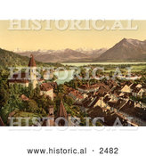 Historical Photochrom of Thun on Lake Thun, Switzerland by Al