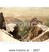 Historical Photochrom of Titlis Mountain in the Swiss Alps by Al