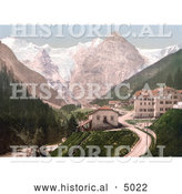 Historical Photochrom of Trafoi Hotel and Post, Tyrol, Austria by Al