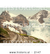 Historical Photochrom of Train Tracks near Jungfrau, Eiger and Monch Mountains by Al