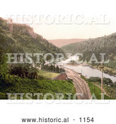 Historical Photochrom of Train Tracks Through Symonds Yat on the River Wye in the Forest of Dean England by Al