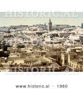 Historical Photochrom of Tunis, Tunisia in 1899 by Al