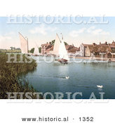 Historical Photochrom of Two White Ducks near Sailboats at Horning Village in Norfolk England by Al