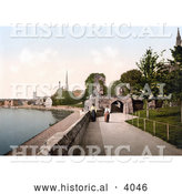 Historical Photochrom of Two Women Strolling on the Promenade in Worcester Worcestershire West Midlands England by Al