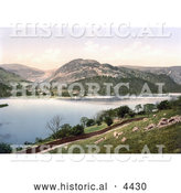 Historical Photochrom of Ullswater Lake, Lake District, England, United Kingdom by Al