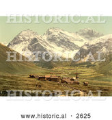 Historical Photochrom of Upper Engadine, Sertigthal, Grisons, Switzerland by Al