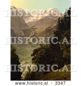 Historical Photochrom of Valley of Lintthal in Switzerland by Al