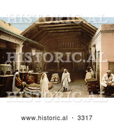 Historical Photochrom of Vendors at a Bazaar, Tunis, Tunisia by Al