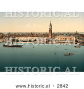 Historical Photochrom of Venice, Italy with Doge's Palace by Al