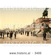 Historical Photochrom of Victor Emmanuel's Monument, Venice, Italy by Al