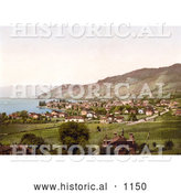 Historical Photochrom of Vineyards and Village of Vevey on Geneva Lake, Switzerland by Al