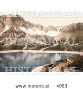 Historical Photochrom of Vorarlberg Douglas Hut and Lunersee, Tyrol, Austria by Al