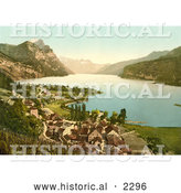 Historical Photochrom of Wallenstadt Lake and Aliver Mountains, Switzerland by Al