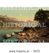 Historical Photochrom of Wallenstadt Lake, Switzerland by Al