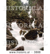 Historical Photochrom of Water of the Lodore Falls Rushing over Rocks Derwentwater Lake District Cumbria England UK by Al