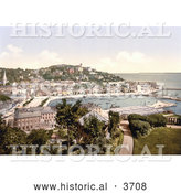 Historical Photochrom of Waterfront Buildings Along the Harbour InTorquay As Seen from Waldren Hill Torbay Devon England UK by Al