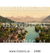 Historical Photochrom of Waterfront Buildings of Thun, Switzerland by Al