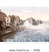Historical Photochrom of Waves Crashing on the Shore in Ramsey Isle of Man England by Al