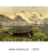 Historical Photochrom of Wengen and Jungfrau Mountains, Switzerland by Al