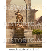 Historical Photochrom of William Tell Memorial in Altdorf, Switzerland by Al