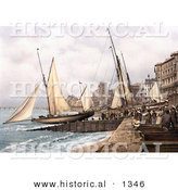 Historical Photochrom of Yachts and Waterfront Buildings in Hastings Sussex England by Al