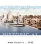 Historical Photochrom of Yachts Starting off from the Beach in Yarmouth Norfolk England UK by Al