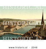 Historical Photochrom of Zurich Cityscape, Switzerland by Al