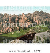 Historical Photocrom of a Bridge of Train Tracks near Mountains in Cathedral Park, Colorado by Al