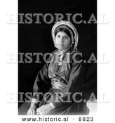 Historical Portrait Photo of Ramallah Woman Seated - Black and White Version by Al