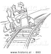 Historical Vector Cartoon of Late Employees Taking a Shortcut on the Railroad Tracks with an Old Car - Black and White Outlined Version by Al