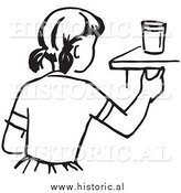 Historical Vector Clipart of a Girl Reaching for a Cup on a Counter - Outline by Al