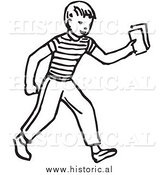 Historical Vector Clipart of a Smiling Boy Delivering Blank Rectangle Papers - Outline by Al