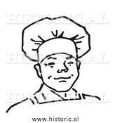 Historical Vector Clipart of a Smiling Male Chef - Outline by Al