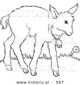 Historical Vector Illustration of a Baby Goat with a Bell Around Neck - Outlined Version by Al