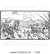 Historical Vector Illustration of a Battle Between Cranes and Pygmies - Black and White Version by Al